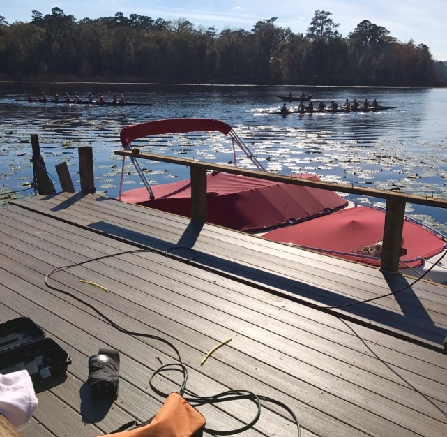 dock with rowers